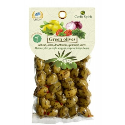 GREEN OLIVES WITH HERBS 150g